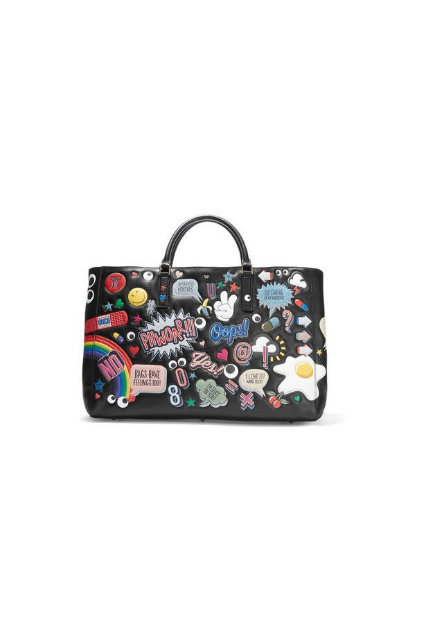 "Bag, $4431, <a href=""https://www.net-a-porter.com/au/en/product/651732/Anya_Hindmarch/ebury-maxi-all-over-stickers-leather-tote"">Anya Hindmarch via net-a-porter.com</a>"