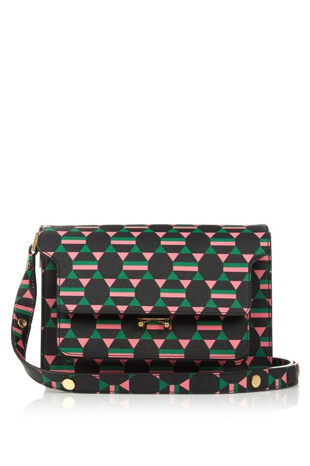 "Bag, $2372, <a href=""http://www.matchesfashion.com/au/products/Marni-Trunk-medium-geometric-print-leather-shoulder-bag-1051236"">Marni via matchesfashion.com</a>"