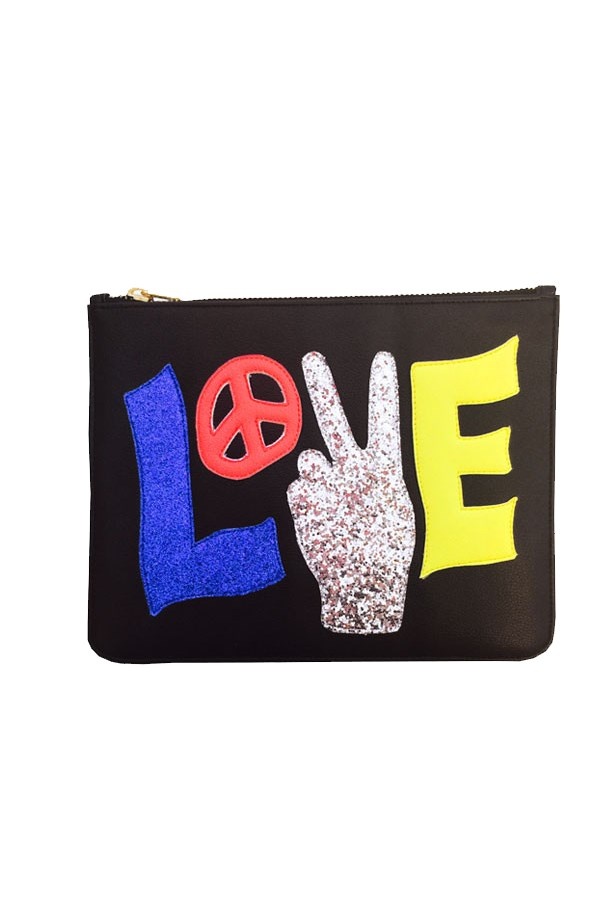 "Clutch, $89, <a href=""http://poppylissiman.com/collections/bags/products/peace-love-clutch-black?variant=14031078791"">Poppy Lissiman</a>"