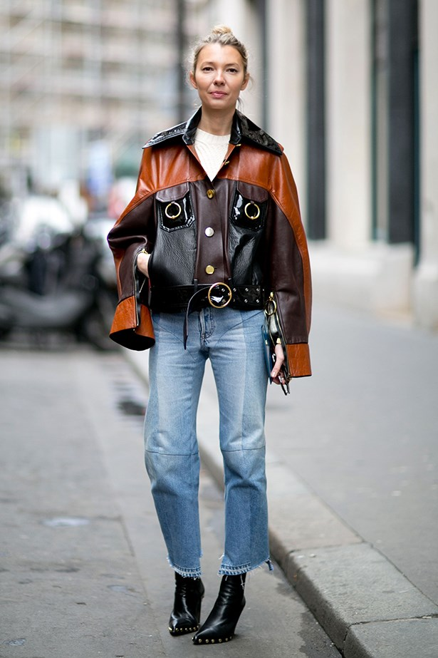 Street style image of Roberta Benteler in Celine boots, crop jeans and leather jacket