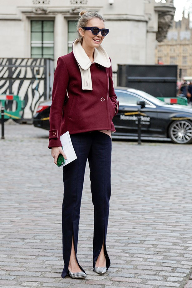 """""""A leg-elongating front split is the season's easy DIY update for old skinny trousers. Perfect with a neat coat."""""""