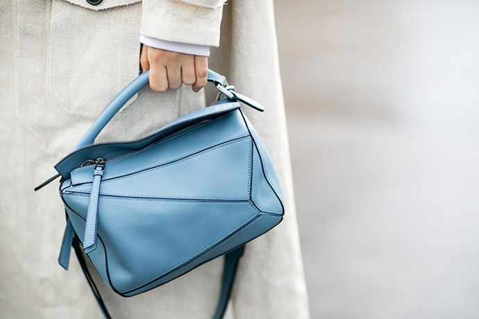 """In duck-egg blue, the Loewe Puzzle Bag reinforces its status as a must-have on the fashion circuit."""