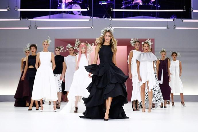 Jennifer Hawkins and Fernanda Ly showcase designs by Maticevski.