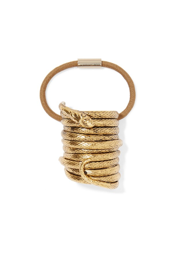 "Hair tie, $290, <a href=""https://www.net-a-porter.com/au/en/product/691170/jennifer_behr/medusa-gold-tone-hair-tie"">Jennifer Behr via net-a-porter.com</a>."