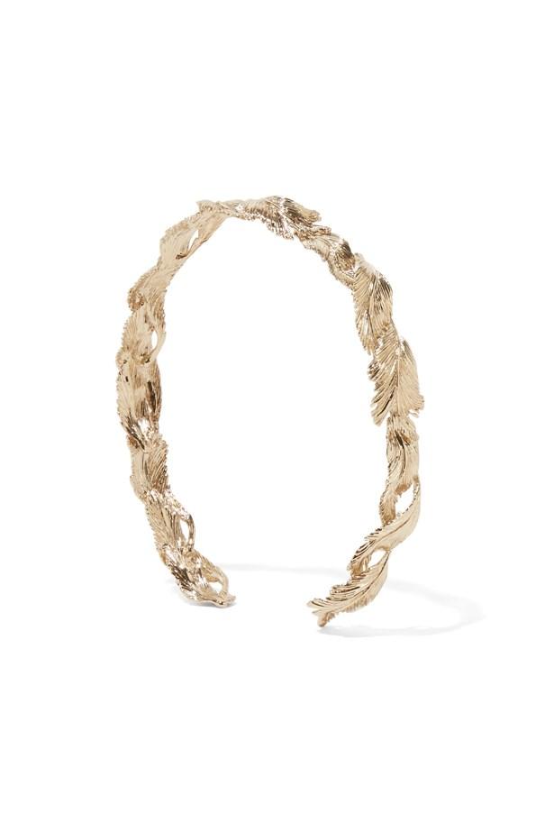 "Headband, $626, Valentino via <a href=""https://www.theoutnet.com/en-US/product/Valentino/Gold-plated-headband/816397"">theoutnet.com</a>."