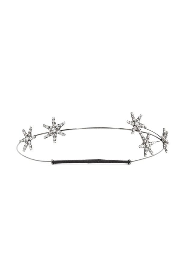 "Headband, $413, <a href=""https://www.net-a-porter.com/au/en/product/758926/jennifer_behr/venus-circlet-gunmetal-plated-swarovski-crystal-headband"">Jennifer Behr at net-a-porter.com</a>."