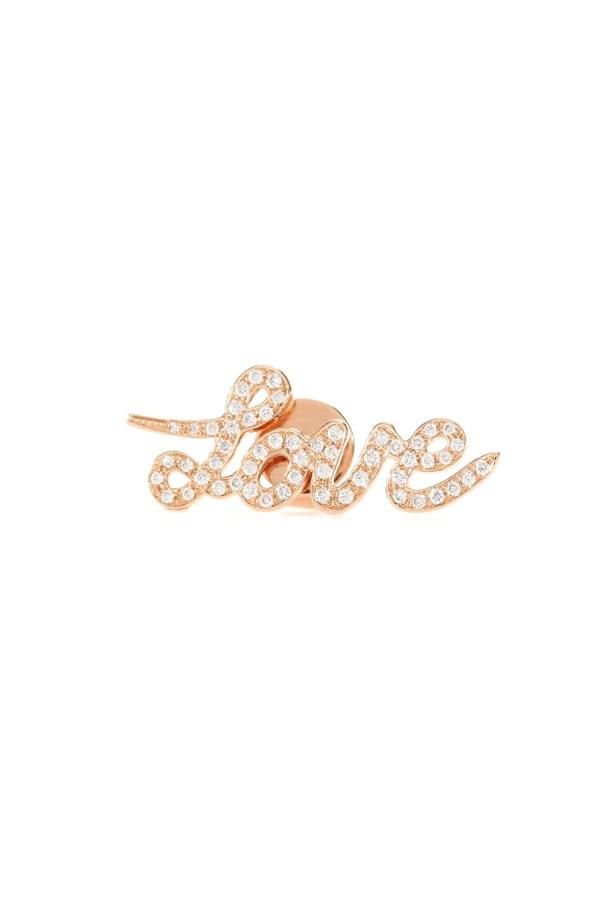 "Earring, $1,545, <a href=""http://www.mytheresa.com/en-au/love-18kt-rose-gold-stud-earring-with-white-diamonds.html?catref=category"">Cada at mytheresa.com</a>."