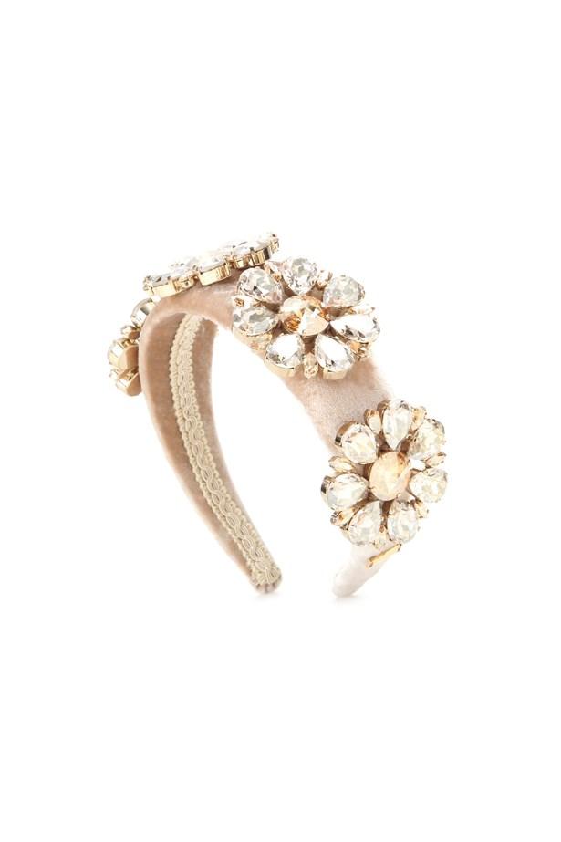 "Headband, $1,600, <a href=""http://www.mytheresa.com/en-au/embellished-velvet-headband-624315.html?catref=category"">Dolce & Gabbana at mytheresa.com</a>."
