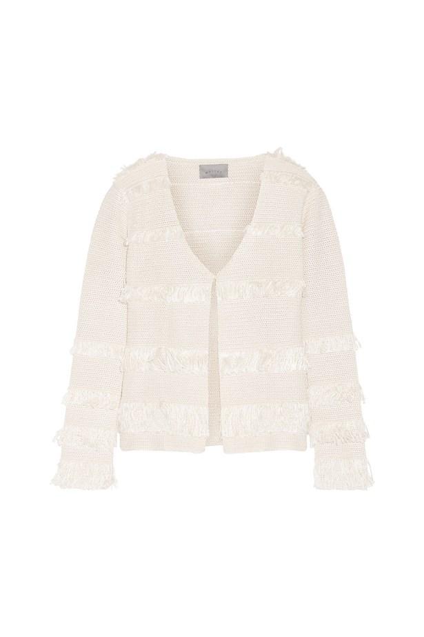 "Silk jacket, $1,352, <a href=""https://www.net-a-porter.com/au/en/product/715715/maiyet/fringed-crocheted-silk-jacket"">Maiyet at net-a-porter.com</a>."
