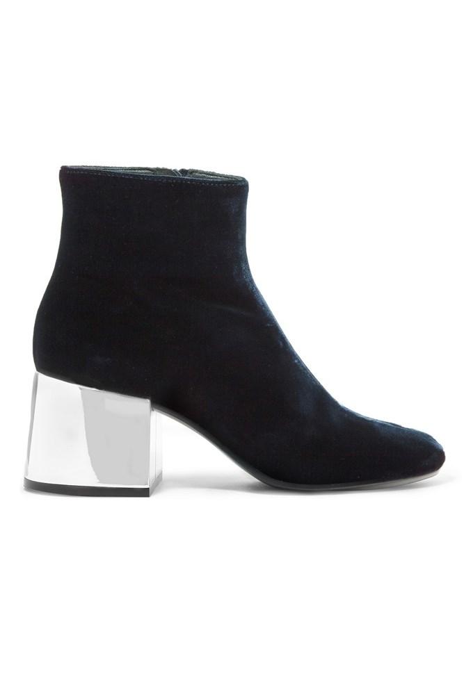 """<a href=""""https://www.net-a-porter.com/au/en/product/711439/MM6_Maison_Margiela/velvet-ankle-boots"""">Boots, $521, MM6 Maison Margiela at net-a-porter.com</a>"""