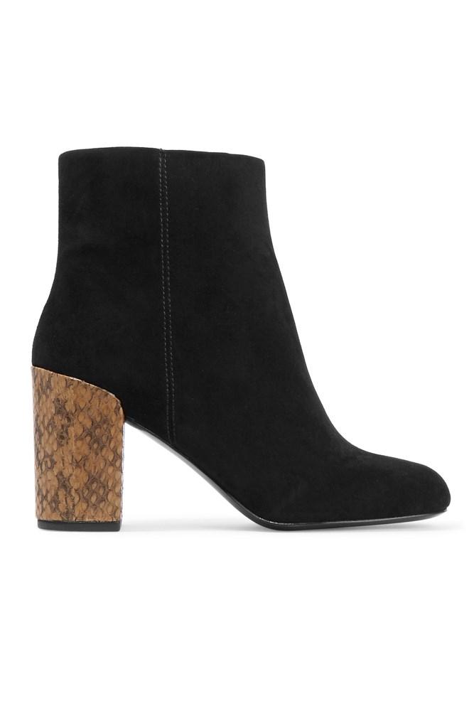 "<a href=""https://www.theoutnet.com/en-AU/product/Alexander-Wang/Hana-leather-and-elaphe-ankle-boots/686978"">Boots, approx. $397, Alexander Wang at theoutnet.com</a>"