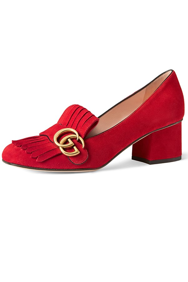 "<strong>Luxe Loafer</strong> <br><br> Gucci loafers, $685, <a href=""http://www.matchesfashion.com/au/products/Gucci-Marmont-fringed-suede-loafers-1053304"">matchesfashion.com</a>"