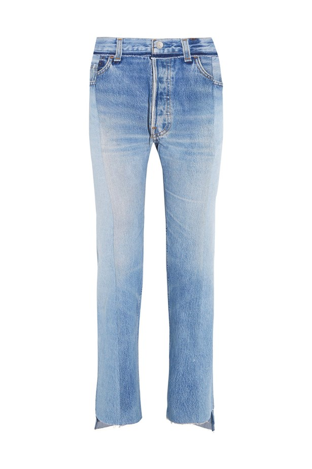 "Jeans, $1,456, <a href=""https://www.net-a-porter.com/au/en/product/757195/vetements/reworked-high-rise-slim-leg-jeans"">Vetements at net-a-porter.com</a>."