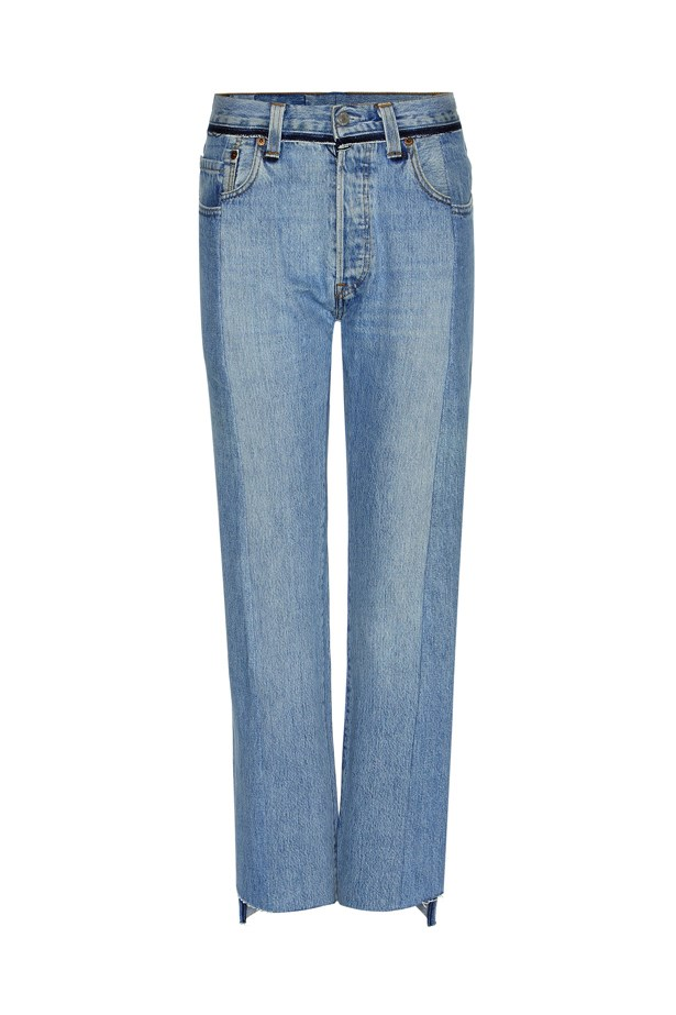 "Jeans, $1,460, <a href=""http://www.mytheresa.com/us_en/high-rise-straight-jeans-644850.html"">Vetements at mytheresa.com</a>."