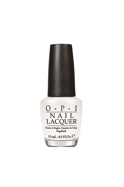 "Nail Lacquer in Alpine Snow, $19.95, <a href=""http://www.myer.com.au/shop/mystore/nail-polish/alpine-snow-132226480-132229000"" target=""_blank"">OPI at myer.com.au</a>."