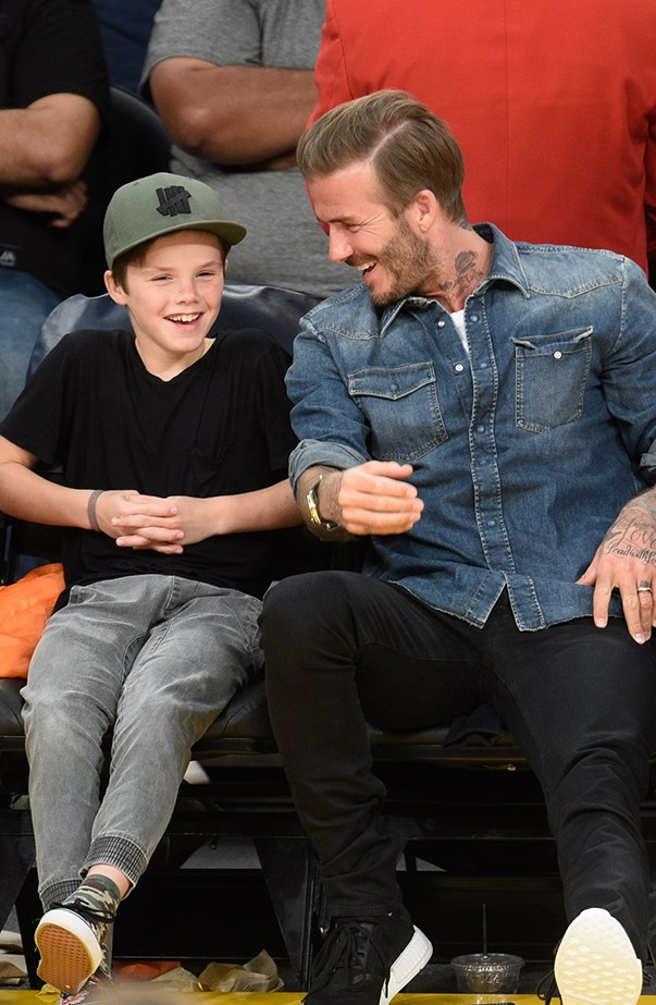 David Beckham and Cruz Beckham at Basketball