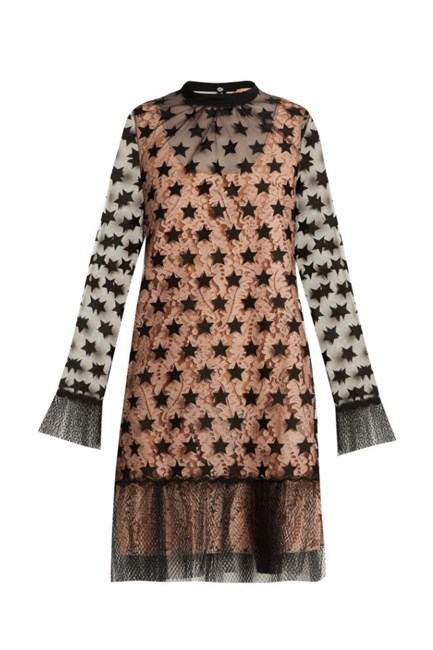 """Star-Embroidered Organza Mini Dress, approx. $986, <a href=""""http://www.matchesfashion.com/products/No-21-Star-embroidered-organza-mini-dress-1059077"""" target=""""_blank"""">No. 21 at matchesfashion.com</a>."""