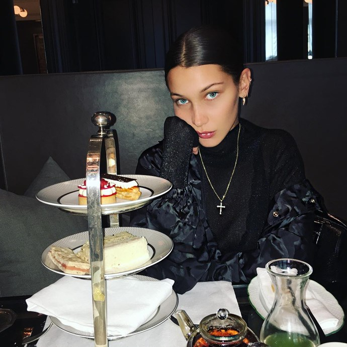 <p>Bella Hadid has piercings going all the way up her left ear.