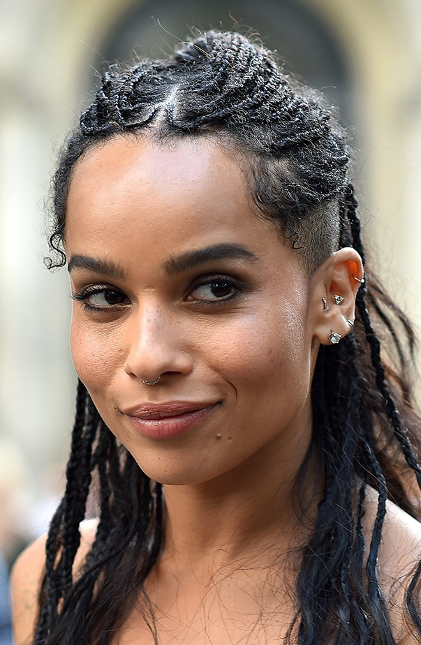 <p>Zoë Kravitz has had a lot of her piercings done by Brian Keith Thompson. She has at least six piercings in her left ear, and she got her septum done as well.