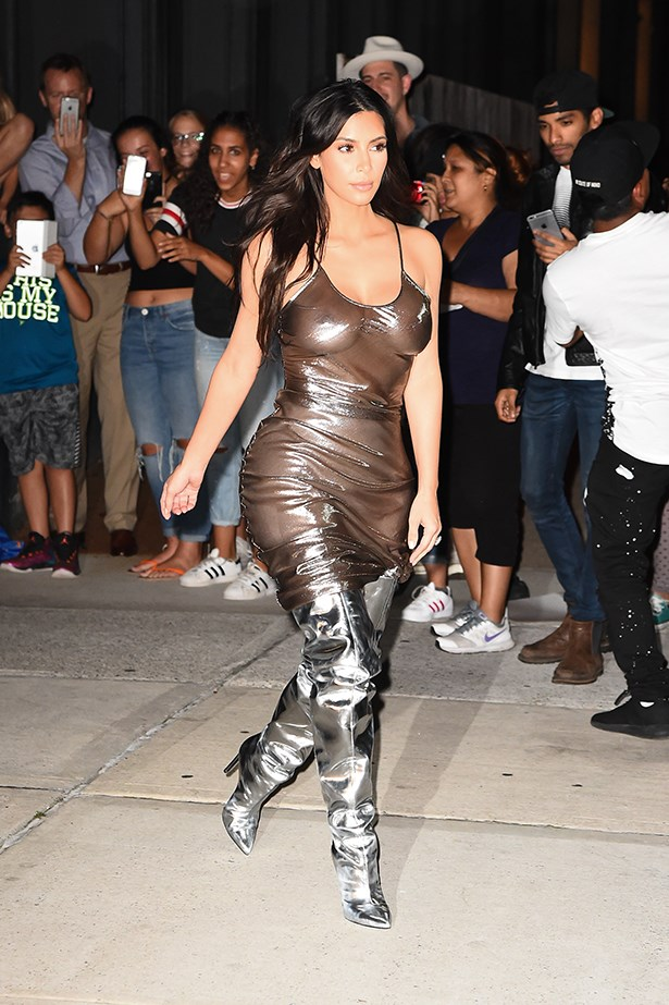 She followed it up with this shiny ensemble.