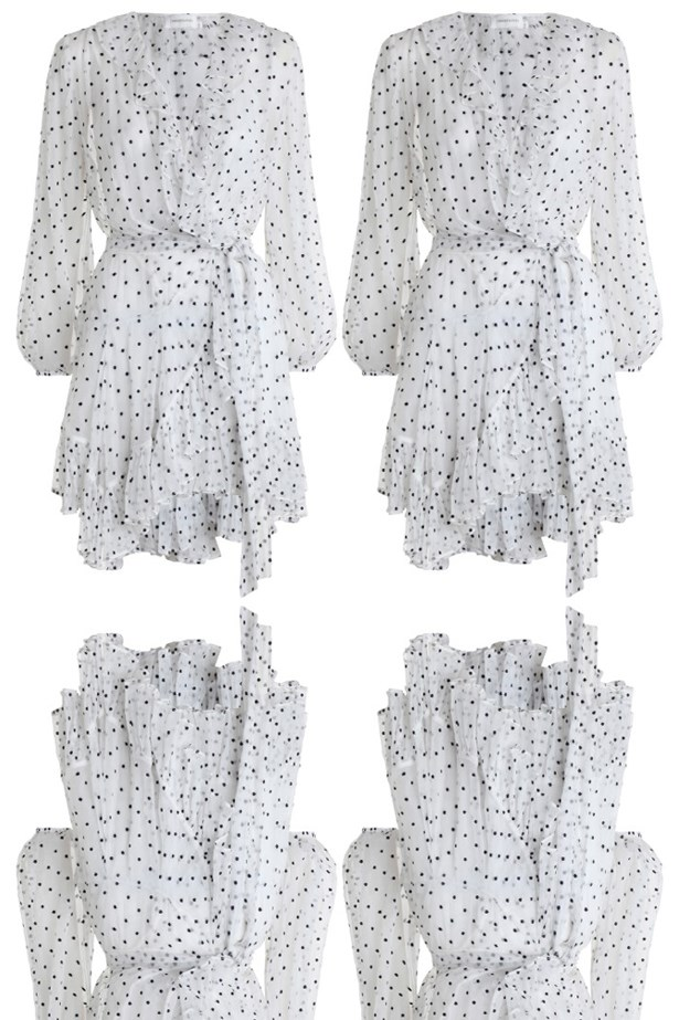 "Dress, $795, <a href=""https://www.zimmermannwear.com/readytowear/adorn-ruffle-wrap-pearl-navy-dot.html"">Zimmermann</a>."