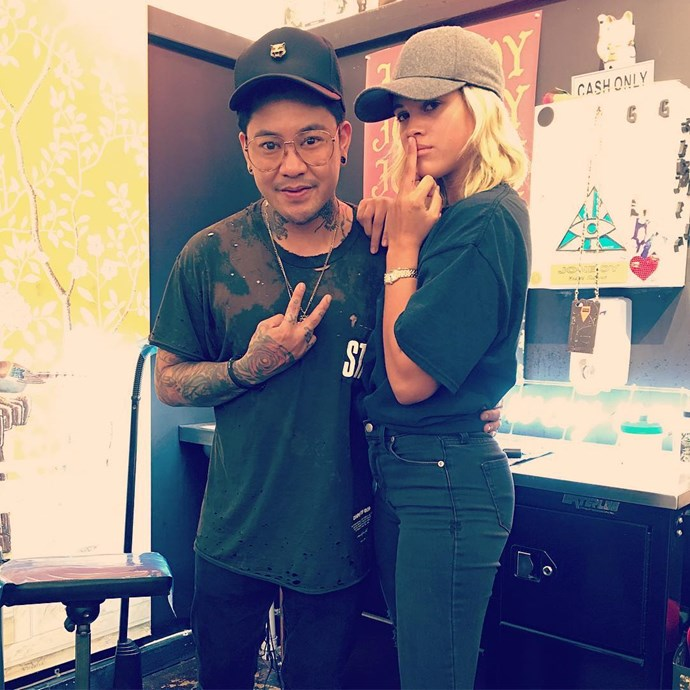 Tattoo artist Jon Boy posted this shot to Instagram with Sofia Richie showing off her new additions.