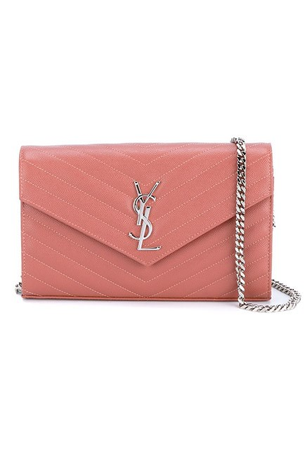 "Rose pink tones are always chic for spring. <br><br>Chain wallet, $1,934, <a href=""https://www.farfetch.com/au/shopping/women/saint-laurent--monogram-crossbody-bag-item-11418006.aspx?storeid=9359&from=listing&tglmdl=1&ffref=lp_pic_247_8_"">Saint Laurent at farfetch.com </a>"