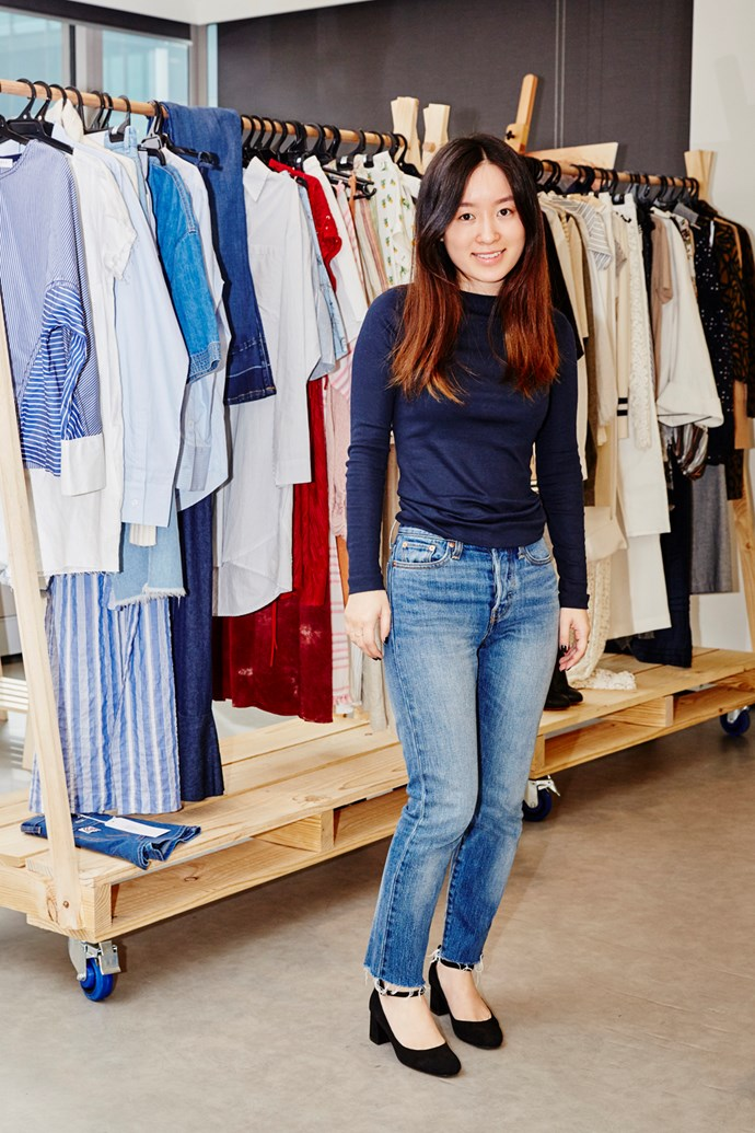 Acting deputy chief sub-editor Jennifer Kang wearing a Gap top, Levi's jeans and Witchery shoes.