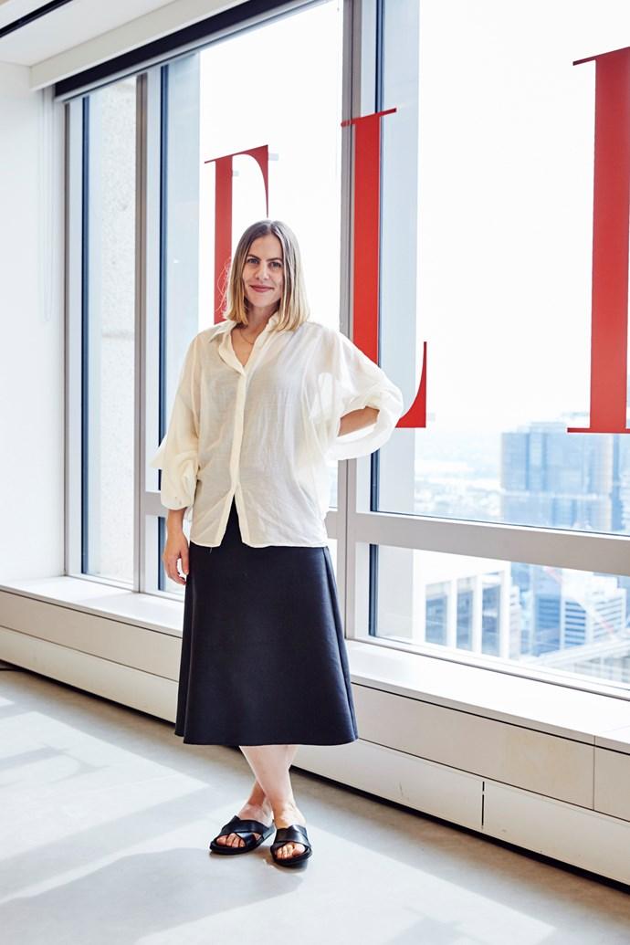 Associate art director Sarah Birnbauer wears an Amy Kahune shirt, Jac + Jack skirt, and Common Projects sandals.