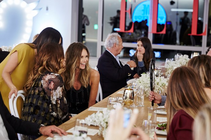 Elle Macpherson at our intimate dinner along with famed French photographer Gilles Bensimon.