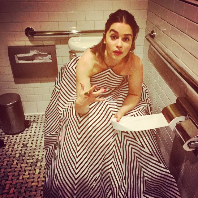 "<p>So this is how you <a href=""https://www.instagram.com/p/4frn3Xo1OV/?taken-by=emilia_clarke"" target=""_blank"">go to the toilet</a> when you're wearing a big gown."