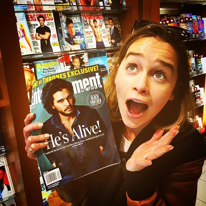 "<p>""WAIT WHAT???!!!!! The truth is out but the six pack is in.... phew what a relief,"" wrote Emilia of the reveal that <a href=""https://www.instagram.com/p/BFXDgeMI1F5/"" target=""_blank"">Jon Snow is alive</a>."