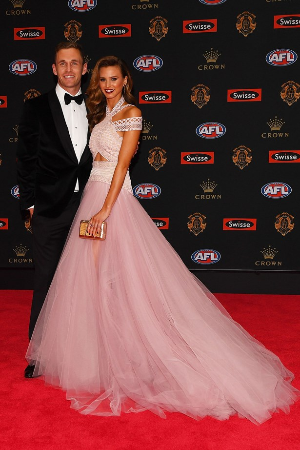 Joel Selwood and Brit Davis.