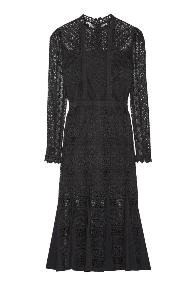 "<a href=""https://www.net-a-porter.com/au/en/product/717583/temperley_london/desdemona-paneled-guipure-lace-midi-dress"">Dress, $984, Temperley London at net-a-porter.com</a>"