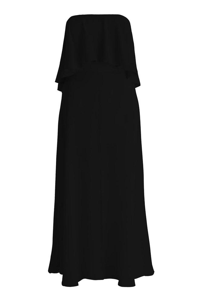 "<a href=""https://www.zimmermannwear.com/readytowear/clothing/dresses/silk-strapless-flounce-dress-black.html"">Dress, $495, Zimmermann</a>"