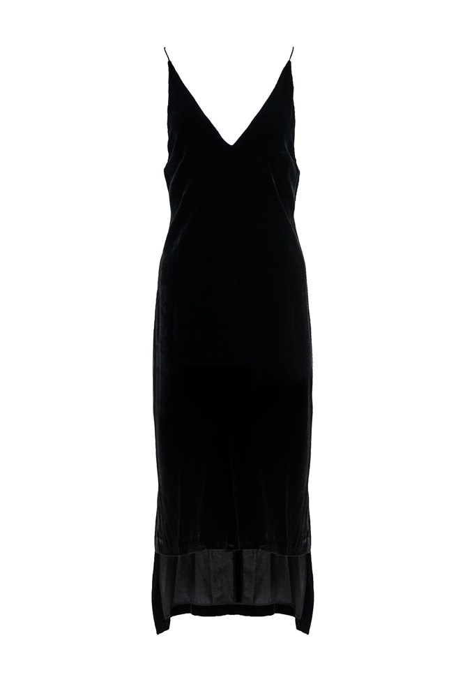 """<a href=""""https://www.theundone.com/collections/dresses/products/dion-lee-black-velvet-slip-cami-midi-dress"""">Dress, $690, Dion Lee at theundone.com</a>"""
