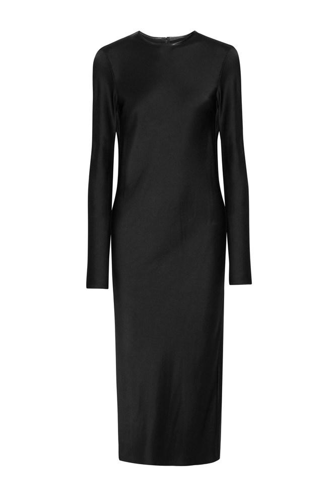 "<a href=""https://www.net-a-porter.com/au/en/product/727681/haider_ackermann/crepe-backed-satin-midi-dress"">Dress, $1730, Haider Ackermann at net-a-porter.com</a>"