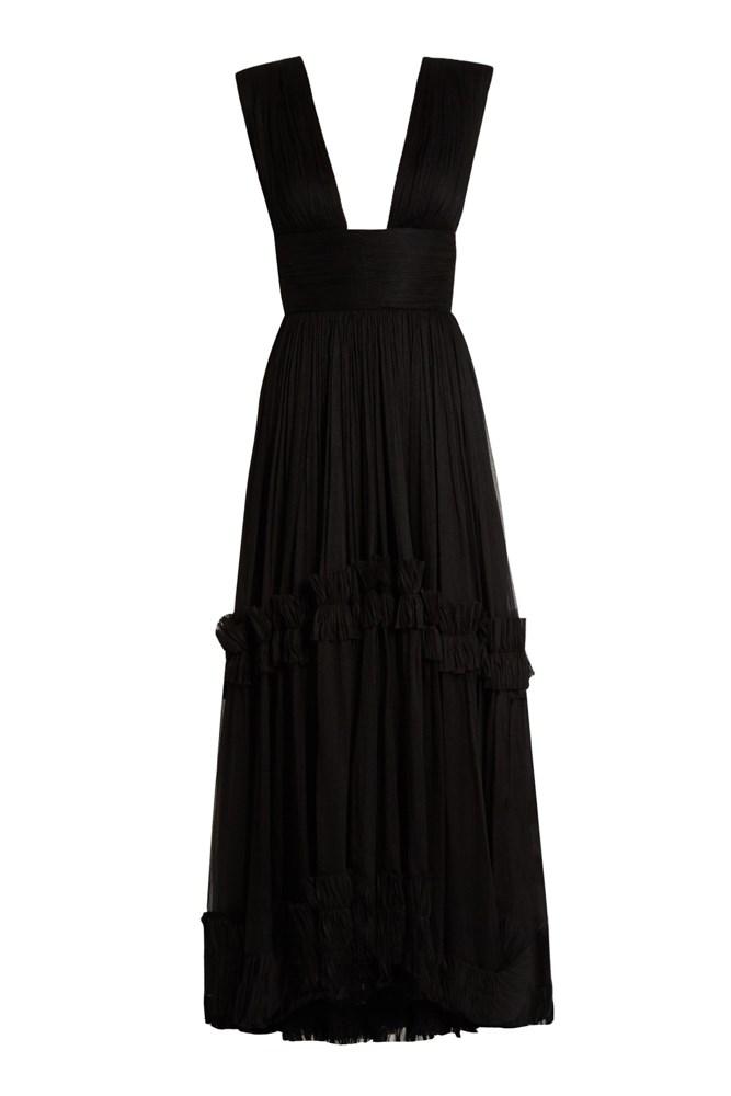 "<a href=""http://www.matchesfashion.com/au/products/Maria-Lucia-Hohan-Polynesia-pleated-silk-mouselline-gown-1066945"">Gown, $2098, Maria Lucia Hohan at matchesfashion.com</a>"