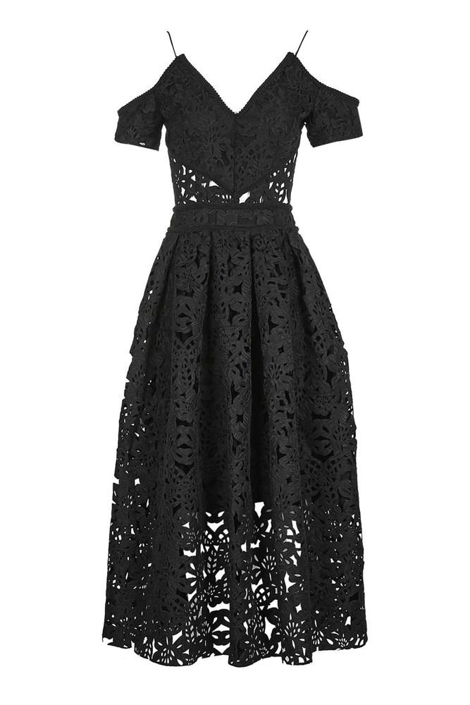 """<a href=""""http://www.topshop.com/en/tsuk/product/clothing-427/dresses-442/laser-cut-bardot-prom-dress-5907487?bi=0&ps=20"""">Dress, approx. $255, Topshop</a>"""