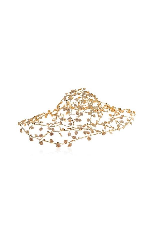"""<a href=""""http://www.luisaviaroma.com/vittorio+ceccoli/women/hats/64I-9KK006/lang_EN/colorid_TEc1?SubLine=accessories&CategoryId=53"""">Wire hat, $2,869, Vittorio Ceccoli at luisaviaroma.com.</a>"""