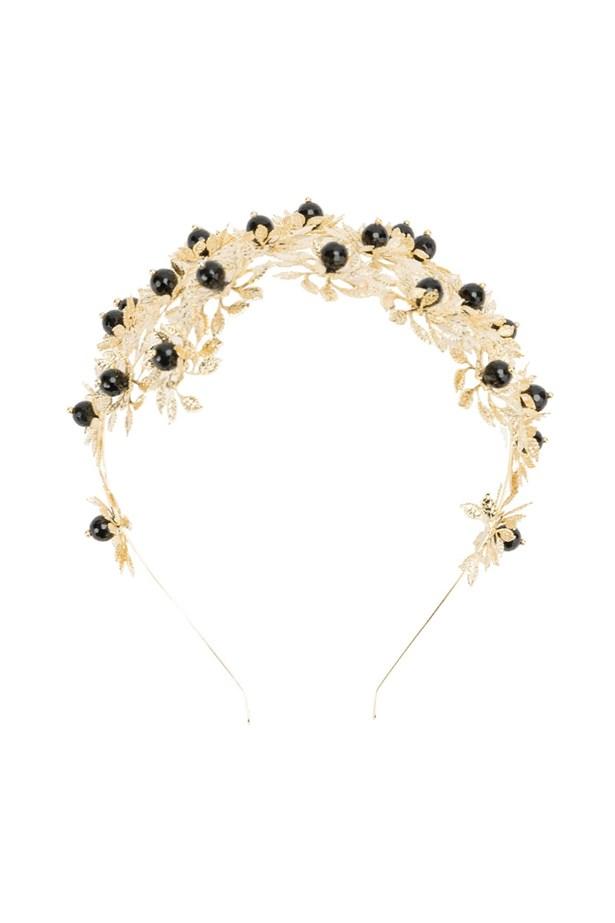 """<a href=""""https://www.farfetch.com/au/shopping/women/rosantica-bead-and-leaf-embellished-headband--item-11550604.aspx?storeid=9089&from=listing&rnkdmnly=1&ffref=lp_pic_2_1_lst"""">Headband, $699, Rosantica at farfetch.com.</a>"""