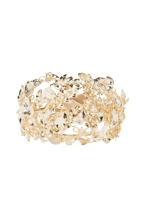 """<a href=""""https://www.farfetch.com/au/shopping/women/rosantica--maria-headpiece-item-11550395.aspx?storeid=9089&from=listing&rnkdmnly=1&ffref=lp_pic_9_1_"""">Headpiece, $816, Rosantica at farfetch.com.</a>"""