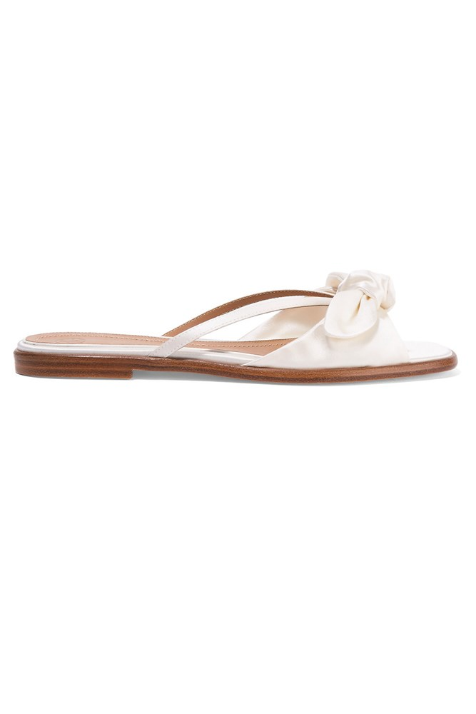 "<a href=""https://www.net-a-porter.com/au/en/product/709772/The_Row/april-bow-embellished-silk-satin-sandals"">Sandals, $824, The Row at net-a-porter.com</a>"