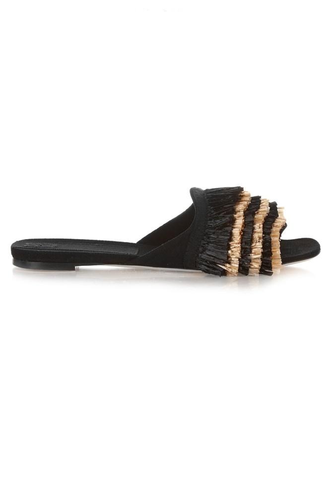 "<a href=""http://www.matchesfashion.com/au/products/Sanayi-313-Chachacha-raffia-trimmed-slides--1049303"">Slides, $777, Sanayi 313, matchesfashion.com</a>"