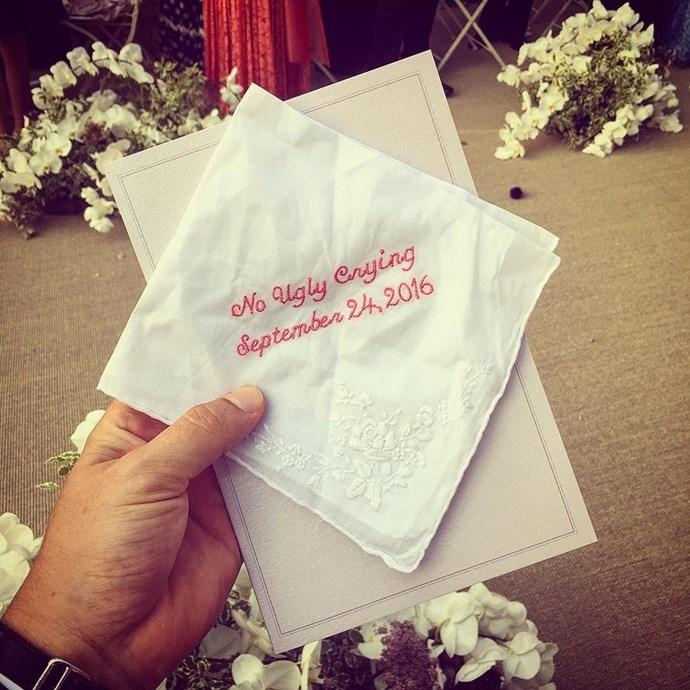 embroidered wedding napkin derek blasberg instagram