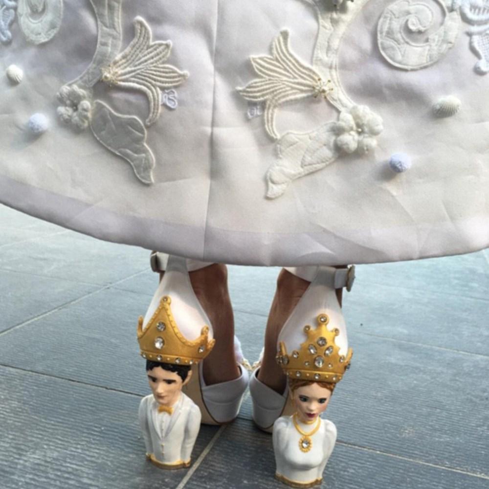 Heiress Colby Jordan's personalised wedding shoes.