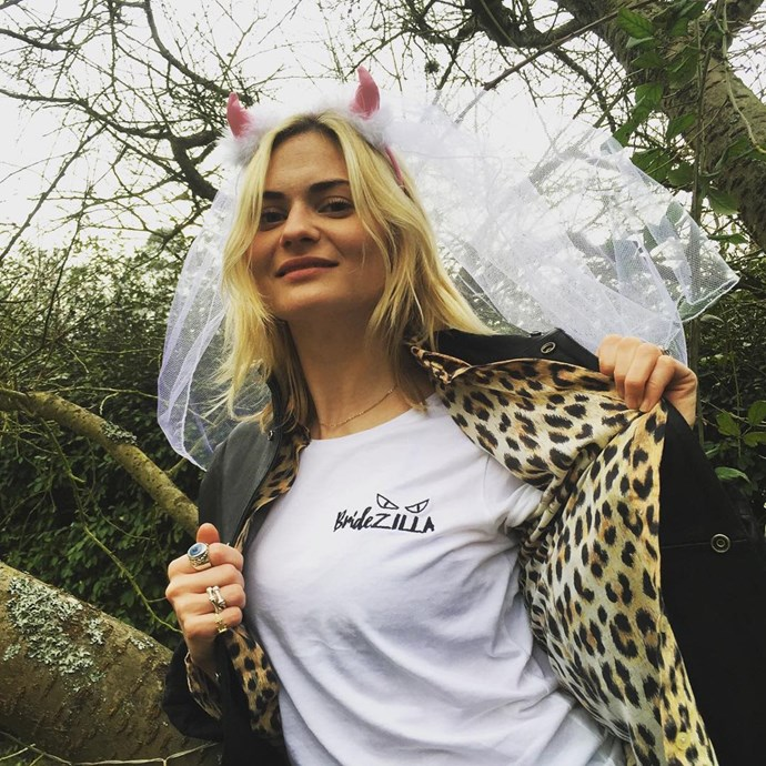 Sykes also wore a tongue-in-cheek 'Bridezilla' tee for her pre-wedding celebrations