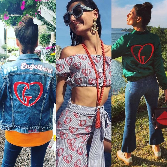 Giovanna is clearly not opposed to wearing her heart on her sleeve (or her jacket)
