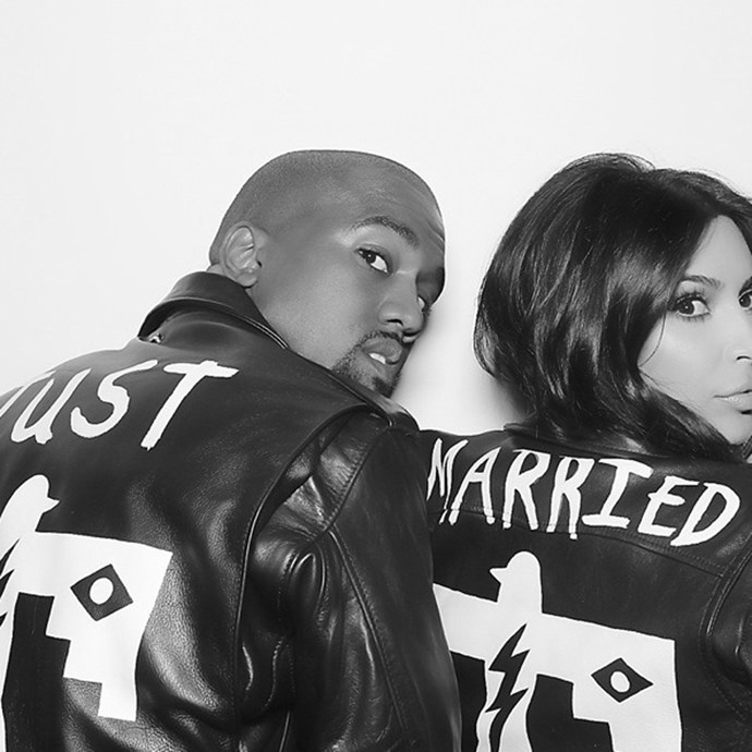 """Who could forget Kanye West and Kim Kardashian West's matching, hand-painted """"Just Married"""" leather jackets?"""