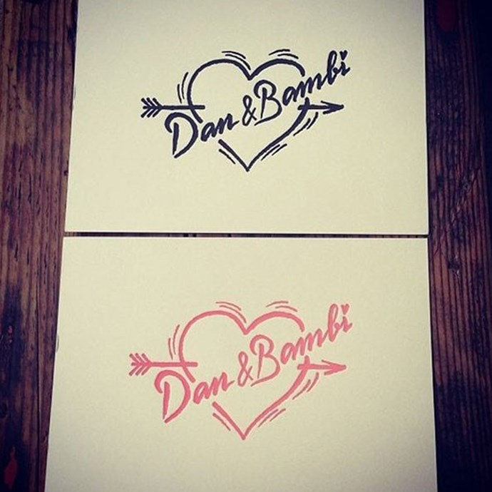 Personalised stationery from Bambi Northwood-Blyth and Dan Single's 2014 wedding